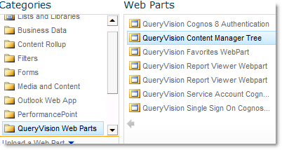 Add QueryVision Content Manager Tree Web Part