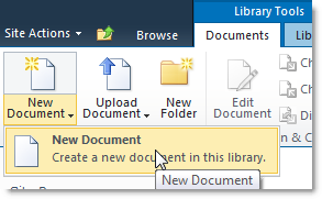 Create New Document in Document Library