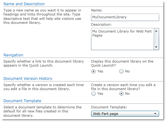 Create a new document library for web part pages