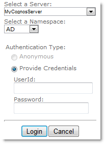 QueryVision Cognos Authentication Web Part
